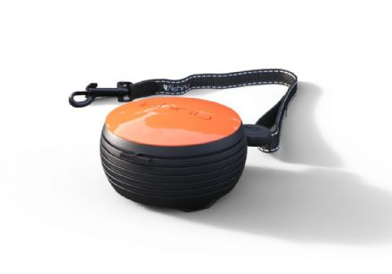 Hand-free retractable dog lead - Orange